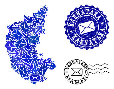 Post combination of blue mosaic map of Karnataka State and scratched seals. Vector imprints with scratched rubber texture with Airmail slogan and envelope symbols.