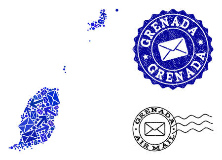 Post combination of blue mosaic map of Grenada Islands and grunge seals. Vector seals with unclean rubber texture with Airmail slogan and envelope symbols.