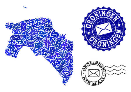 Post combination of blue mosaic map of Groningen Province and grunge stamp seals. Vector seals with grunge rubber texture with Airmail caption and envelope symbols. Illustration