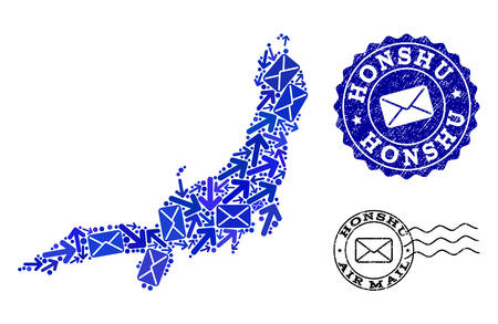 Post combination of blue mosaic map of Honshu Island and rubber stamp seals. Vector watermarks with distress rubber texture with Airmail text and envelope symbols. Illustration