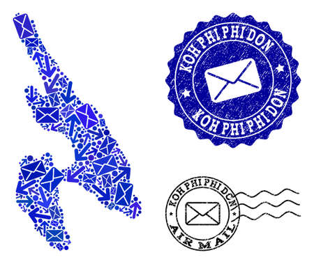 Post composition of blue mosaic map of Koh Phi Don and textured stamp seals. Vector seals with unclean rubber texture with Airmail text and envelope symbols.