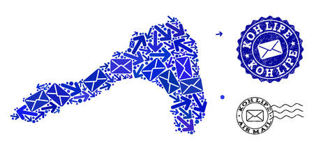 Mail collage of blue mosaic map of Koh Lipe and unclean stamp seals. Vector seals with grunge rubber texture with Airmail title and envelope symbols. Flat design for correspondence ways templates.