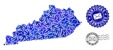 Mail combination of blue mosaic map of Kentucky State and unclean seals. Vector seals with unclean rubber texture with Airmail text and envelope symbols. Illustration