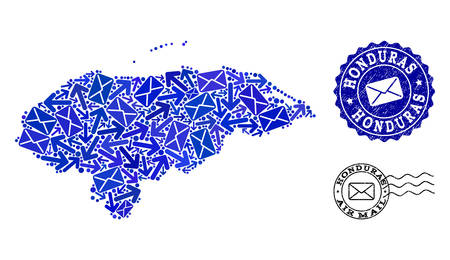 Post combination of blue mosaic map of Honduras and dirty stamp seals. Vector seals with grunge rubber texture with Airmail text and envelope symbols. Flat design for post routes illustrations.