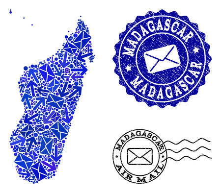Post composition of blue mosaic map of Madagascar Island and corroded seals. Vector watermarks with corroded rubber texture with Airmail text and envelope symbols.