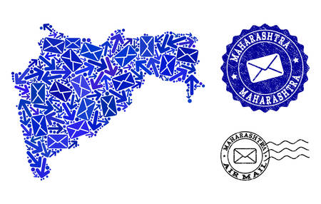 Mail combination of blue mosaic map of Maharashtra State and unclean stamp seals. Vector imprints with unclean rubber texture with Airmail title and envelope symbols.