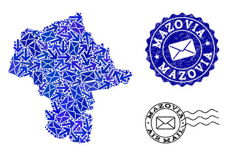 Post combination of blue mosaic map of Mazovia Province and rubber stamp seals. Vector seals with distress rubber texture with Airmail title and envelope symbols.