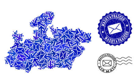 Mail combination of blue mosaic map of Madhya Pradesh State and rubber stamp seals. Vector watermarks with grunge rubber texture with Airmail slogan and envelope symbols. Illustration