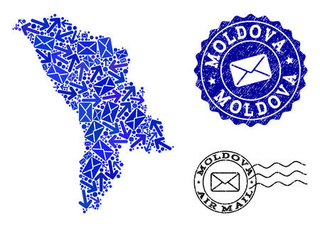 Mail collage of blue mosaic map of Moldova and rubber seals. Vector imprints with unclean rubber texture with Airmail slogan and envelope symbols. Flat design for mail motion templates.