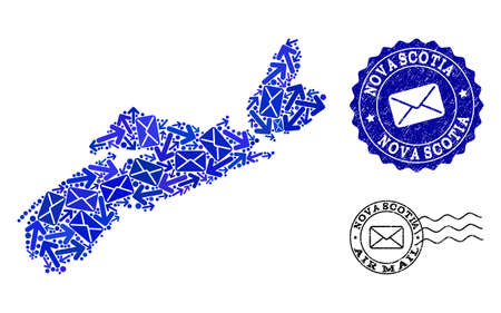 Mail collage of blue mosaic map of Nova Scotia Province and unclean stamp seals. Vector seals with grunge rubber texture with Airmail text and envelope symbols. Illustration