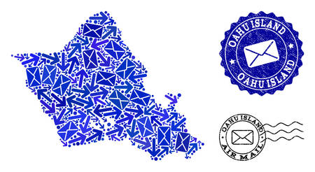 Mail collage of blue mosaic map of Oahu Island and textured seals. Vector seals with unclean rubber texture with Airmail slogan and envelope symbols. Flat design for mail pathways posters.