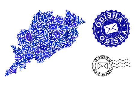 Post composizione della mappa mosaico blu dello stato di Odisha e sigilli di gomma. Sigilli vettoriali con struttura in gomma grunge con slogan di posta aerea e simboli di busta.