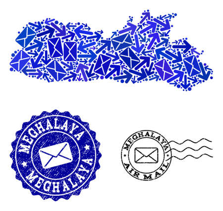 Mail collage of blue mosaic map of Meghalaya State and unclean stamp seals. Vector seals with scratched rubber texture with Airmail slogan and envelope symbols. Flat design for mail motion posters. Vettoriali