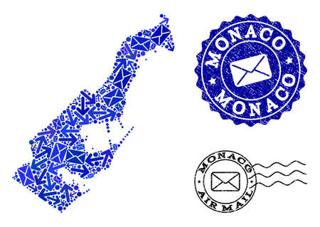 Mail composition of blue mosaic map of Monaco and corroded stamp seals. Vector watermarks with corroded rubber texture with Airmail title and envelope symbols. Flat design for mail routes purposes.