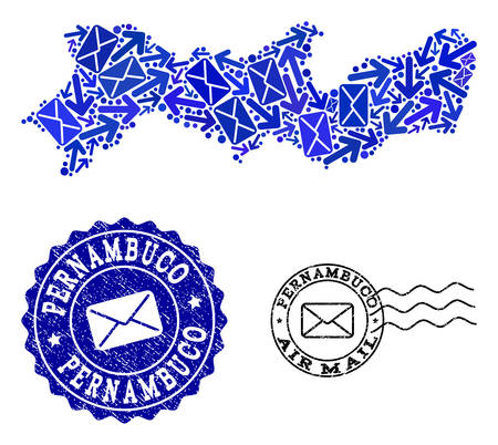 Mail combination of blue mosaic map of Pernambuco State and grunge stamp seals. Vector seals with grunge rubber texture with Airmail title and envelope symbols.