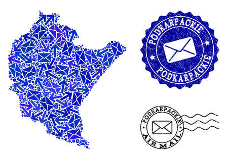 Post combination of blue mosaic map of Podkarpackie Province and grunge seals. Vector imprints with grunge rubber texture with Airmail caption and envelope symbols. Illustration