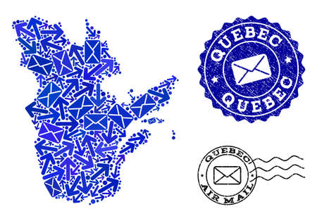 Mail combination of blue mosaic map of Quebec Province and rubber stamps. Vector watermarks with distress rubber texture with Airmail title and envelope symbols.