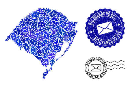 Mail composition of blue mosaic map of Rio Grande do Sul State and rubber stamp seals. Vector seals with scratched rubber texture with Airmail slogan and envelope symbols.