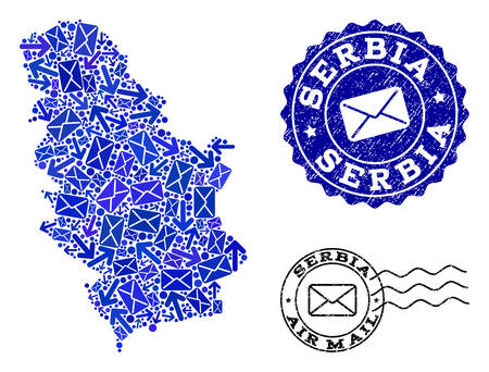 Post composition of blue mosaic map of Serbia and scratched stamp seals. Vector imprints with scratched rubber texture with Airmail title and envelope symbols.