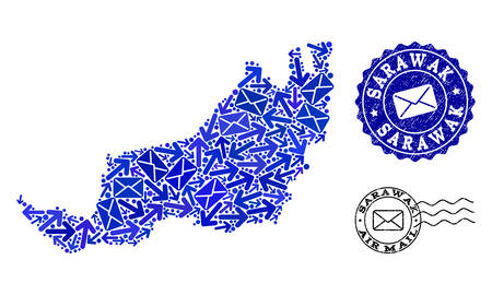 Post composition of blue mosaic map of Sarawak and grunge stamp seals. Vector seals with grunge rubber texture with Airmail caption and envelope symbols. Flat design for post ways templates.