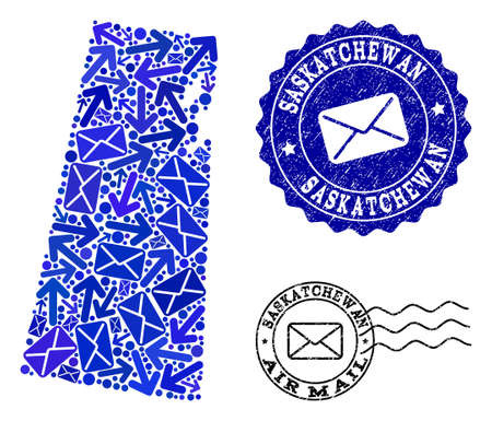 Post collage of blue mosaic map of Saskatchewan Province and rubber stamp seals. Vector seals with distress rubber texture with Airmail text and envelope symbols. Illustration