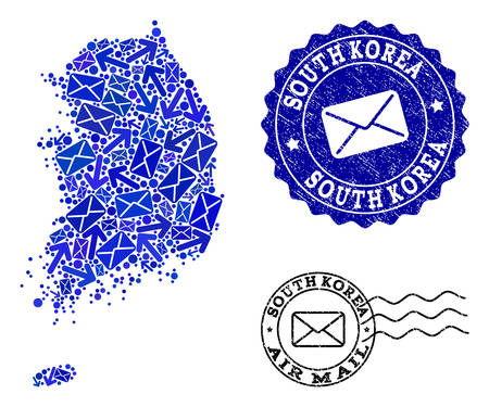 Post collage of blue mosaic map of South Korea and corroded seals. Vector seals with corroded rubber texture with Airmail caption and envelope symbols. Flat design for messages routes illustrations.