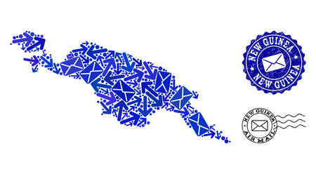 Post collage of blue mosaic map of New Guinea Island and corroded seals. Vector imprints with corroded rubber texture with Airmail title and envelope symbols.