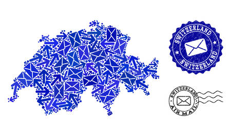 Mail combination of blue mosaic map of Switzerland and dirty stamp seals. Vector seals with scratched rubber texture with Airmail caption and envelope symbols.