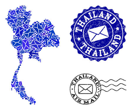 Post combination of blue mosaic map of Thailand and unclean stamp seals. Vector seals with unclean rubber texture with Airmail caption and envelope symbols. Flat design for post routes purposes.