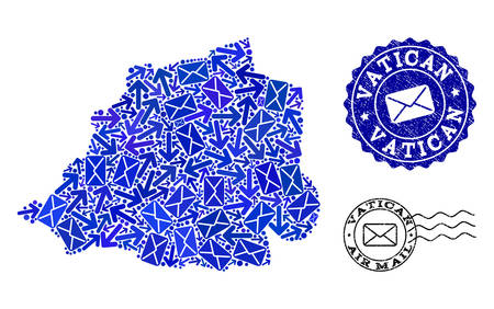 Post combination of blue mosaic map of Vatican and rubber seals. Vector watermarks with corroded rubber texture with Airmail caption and envelope symbols. Flat design for post delivery illustrations.