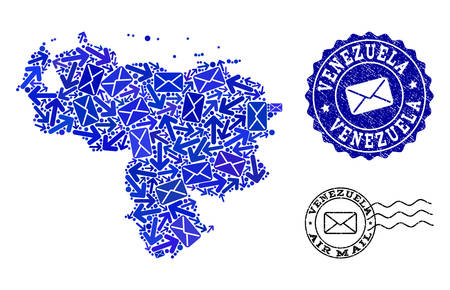 Post combination of blue mosaic map of Venezuela and grunge stamp seals. Vector seals with unclean rubber texture with Airmail text and envelope symbols. Flat design for post ways illustrations. Illustration