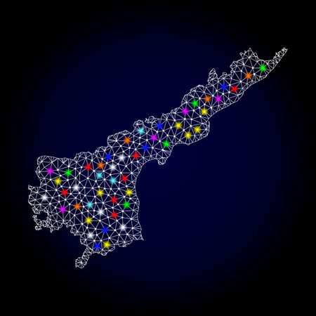 Polygonal vector map of Andhra Pradesh State with glow effect on a black background. Abstract triangles, lines, light colorful spots, dots forms map of Andhra Pradesh State. White mesh,