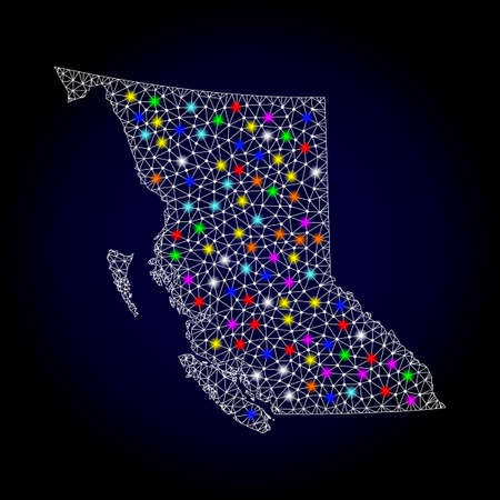 Polygonal vector map of British Columbia Province with glow effect on a black background. Abstract triangles, lines, light colorful spots, nodes forms map of British Columbia Province. White mesh,