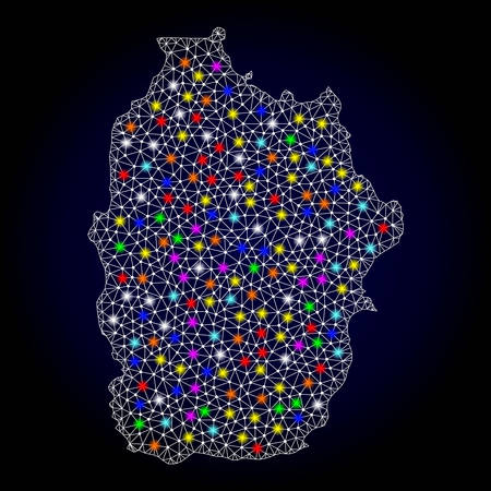 Polygonal vector map of Azores - Flores Island with glow effect on a black background. Abstract triangles, lines, light colorful spots, nodes forms map of Azores - Flores Island. White mesh,