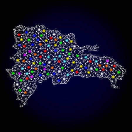 Polygonal vector map of Dominican Republic with glow effect on a black background. Abstract triangles, lines, light colorful spots, nodes forms map of Dominican Republic. White mesh, Illustration