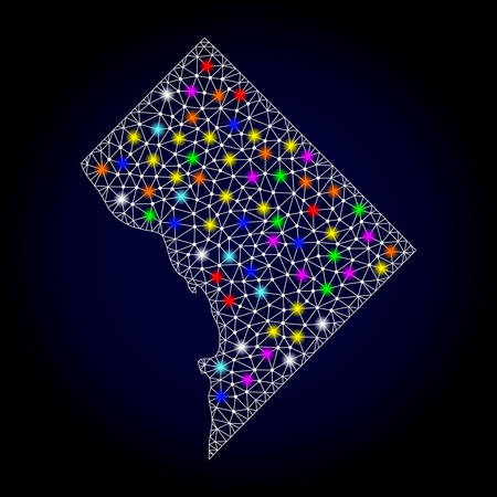 Polygonal vector map of District Columbia with glow effect on a black background. Abstract triangles, lines, light colorful spots, nodes forms map of District Columbia. White mesh,
