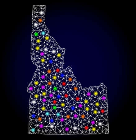 Polygonal vector map of Idaho State with glare effect on a black background. Abstract triangles, lines, light colored spots, points forms map of Idaho State. White mesh,  イラスト・ベクター素材