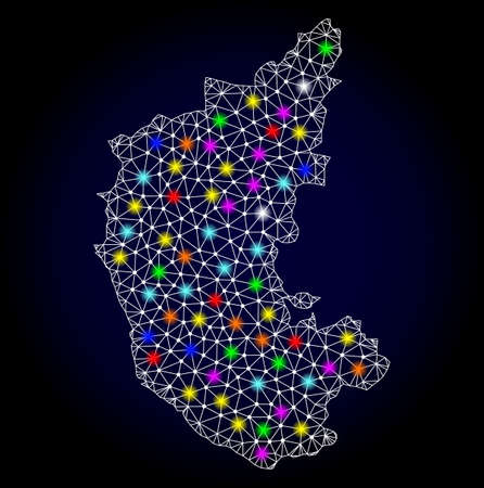 Polygonal vector map of Karnataka State with glare effect on a black background. Abstract triangles, lines, light colorful spots, dots forms map of Karnataka State. White mesh,