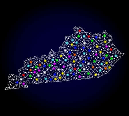 Polygonal vector map of Kentucky State with glow effect on a black background. Abstract triangles, lines, light colorful spots, dots forms map of Kentucky State. White mesh,