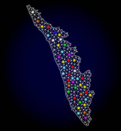 Polygonal vector map of Kerala State with glow effect on a black background. Abstract triangles, lines, light colored spots, points forms map of Kerala State. White mesh,