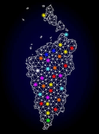 Polygonal vector map of Krasnoyarskiy Kray with glare effect on a black background. Abstract triangles, lines, light colorful spots, dots forms map of Krasnoyarskiy Kray. White mesh, Illustration