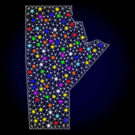 Polygonal vector map of Manitoba Province with glare effect on a black background. Abstract triangles, lines, light colorful spots, nodes forms map of Manitoba Province. White mesh,