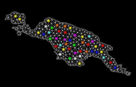 Polygonal vector map of New Guinea Island with glow effect on a black background. Abstract triangles, lines, light colorful spots, points forms map of New Guinea Island. White mesh, Vector Illustration