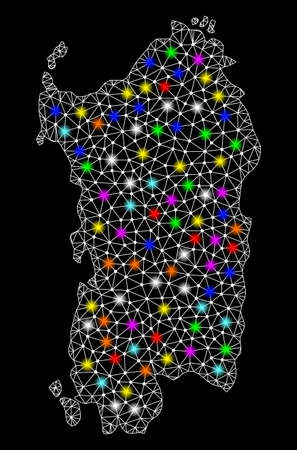 Polygonal vector map of Sardinia region with glare effect on a black background. Abstract triangles, lines, light colorful spots, nodes forms map of Sardinia region. White mesh, Ilustrace