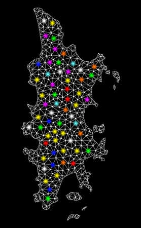 Polygonal vector map of Phuket with glow effect on a black background. Abstract triangles, lines, light colorful spots, points forms map of Phuket. White mesh,