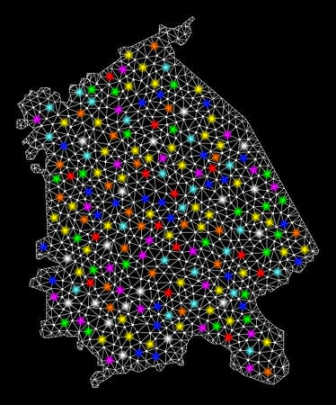 Polygonal vector map of Pavlodar Region with glow effect on a black background. Abstract triangles, lines, light colorful spots, dots forms map of Pavlodar Region. White mesh, Ilustrace