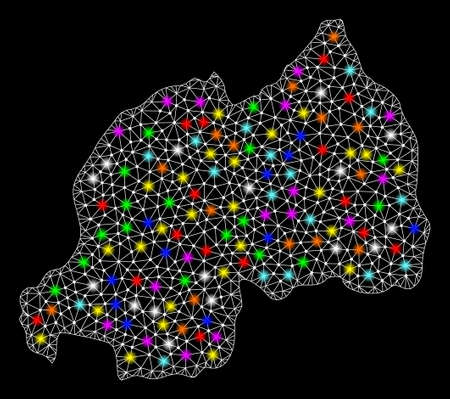 Polygonal vector map of Rwanda with glare effect on a black background. Abstract triangles, lines, light colorful spots, points forms map of Rwanda. White mesh,