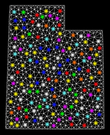 Polygonal vector map of Utah State with glow effect on a black background. Abstract triangles, lines, light colorful spots, dots forms map of Utah State. White mesh,