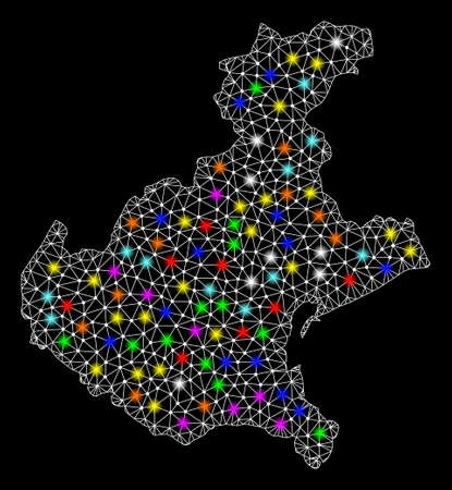 Polygonal vector map of Veneto region with glare effect on a black background. Abstract triangles, lines, light colorful spots, nodes forms map of Veneto region. White mesh, Иллюстрация