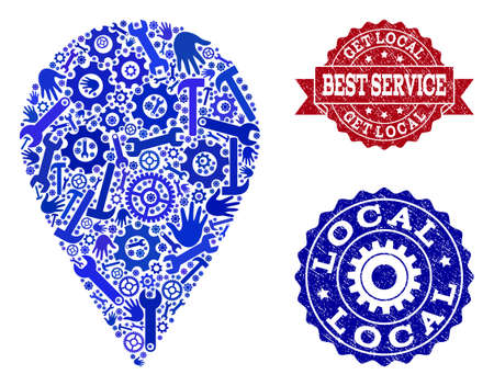 Best service collage of blue mosaic local place and rubber seal stamps. Mosaic local place constructed with gearwheels,cogwheels, wrenches, hands. Vector imprints with scratched rubber texture. Vettoriali